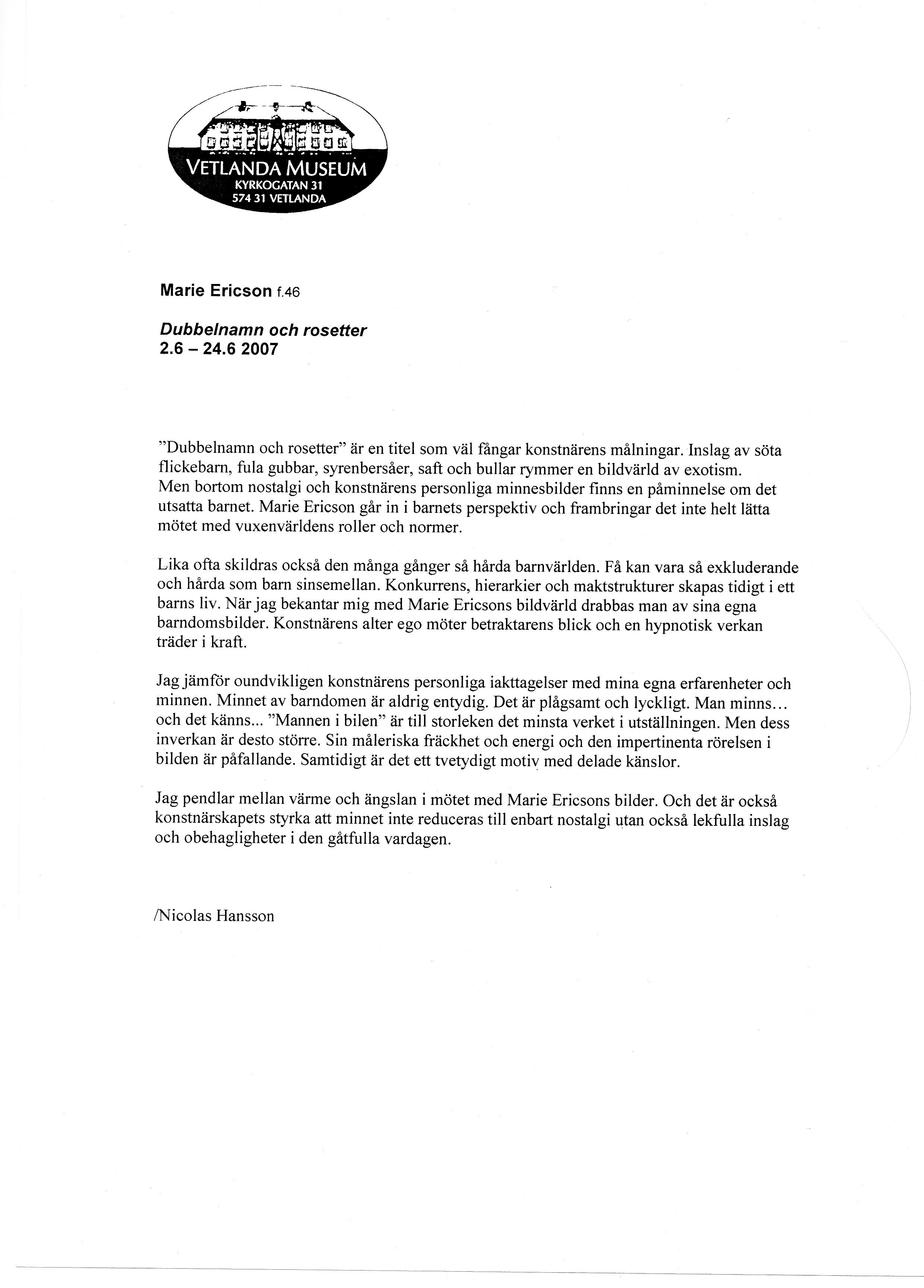Nicolas Hansson Vetlanda museum inför utst